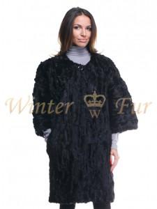 Черное меховое кимоно Арт 1261