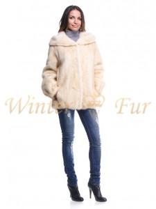 Меховая куртка персикового цвета Арт 113