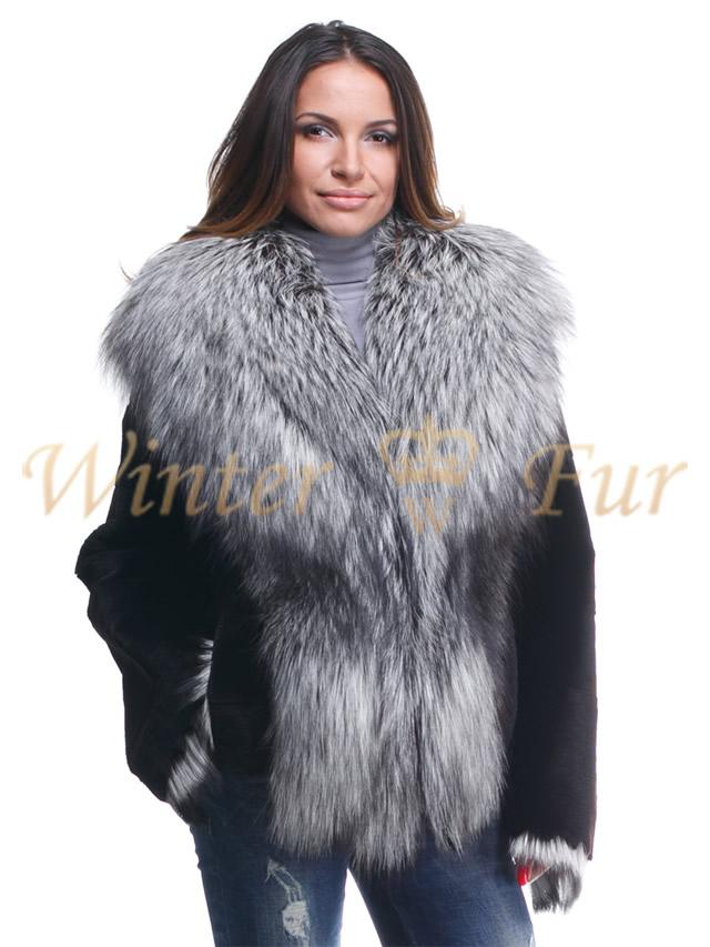 Черная куртка с отделкой из меха чернобурки Арт 181