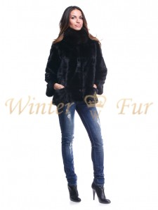 Черная меховая куртка Арт 1812