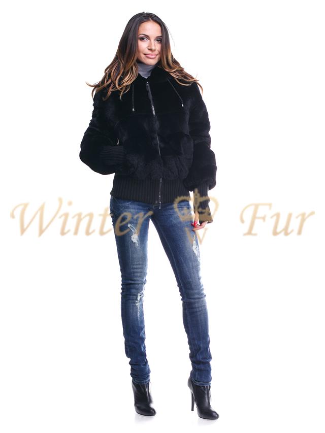 Черная меховая куртка Арт 1909