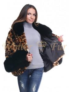Шуба с леопардовыми принтами Арт 1278