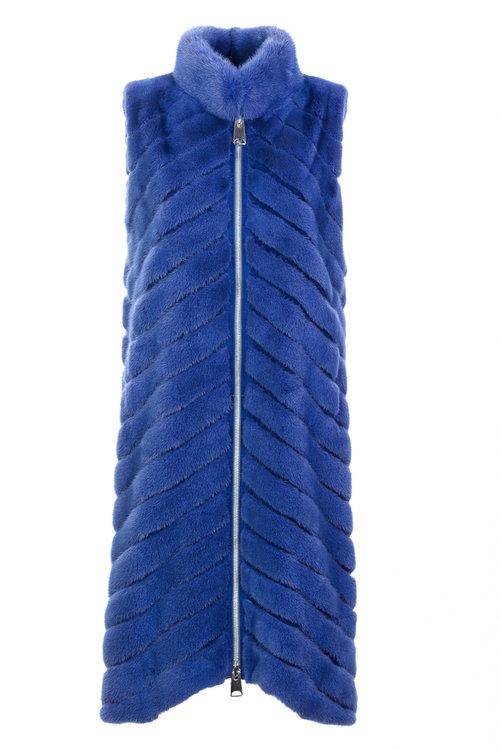 Синий длинный меховой жилет Braschi из меха норки NAFA
