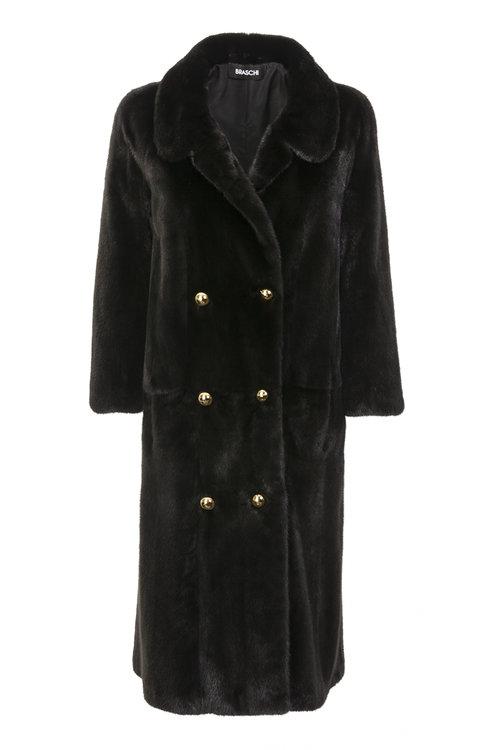 Черная норковая шуба-пальто Braschi из меха NAFA
