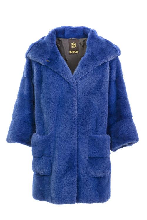 Синяя норковая шуба Braschi из меха NAFA