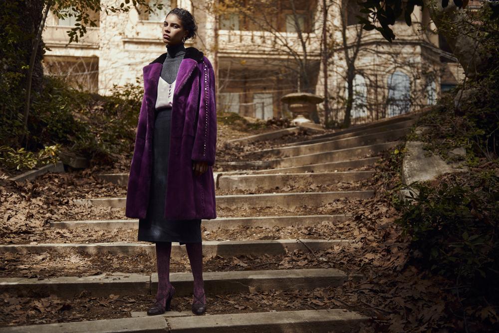 Фиолетовая норковая шуба Divine Luxury Fur из меха NAFA