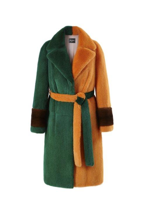 Оранжево-зеленая норковая шуба от Эмиля Шабаева из меха NAFA