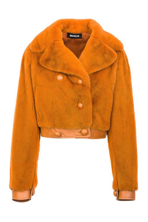 Персиковая куртка Braschi из меха NAFA