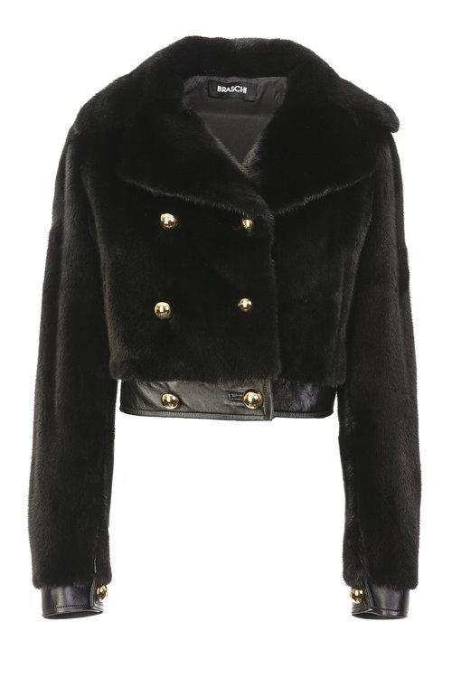 Куртка из норки на пуговицах с мехом NAFA