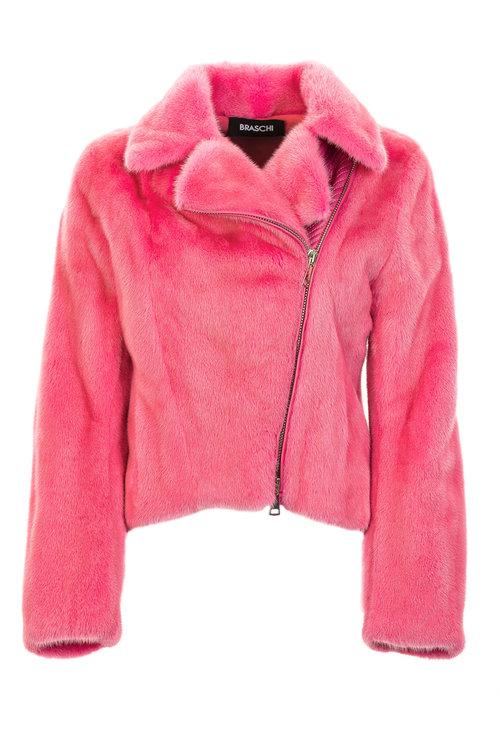 Розовая куртка Braschi из меха NAFA