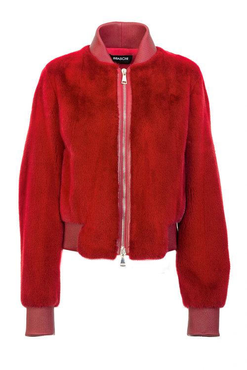 Бордовая куртка Braschi из меха NAFA