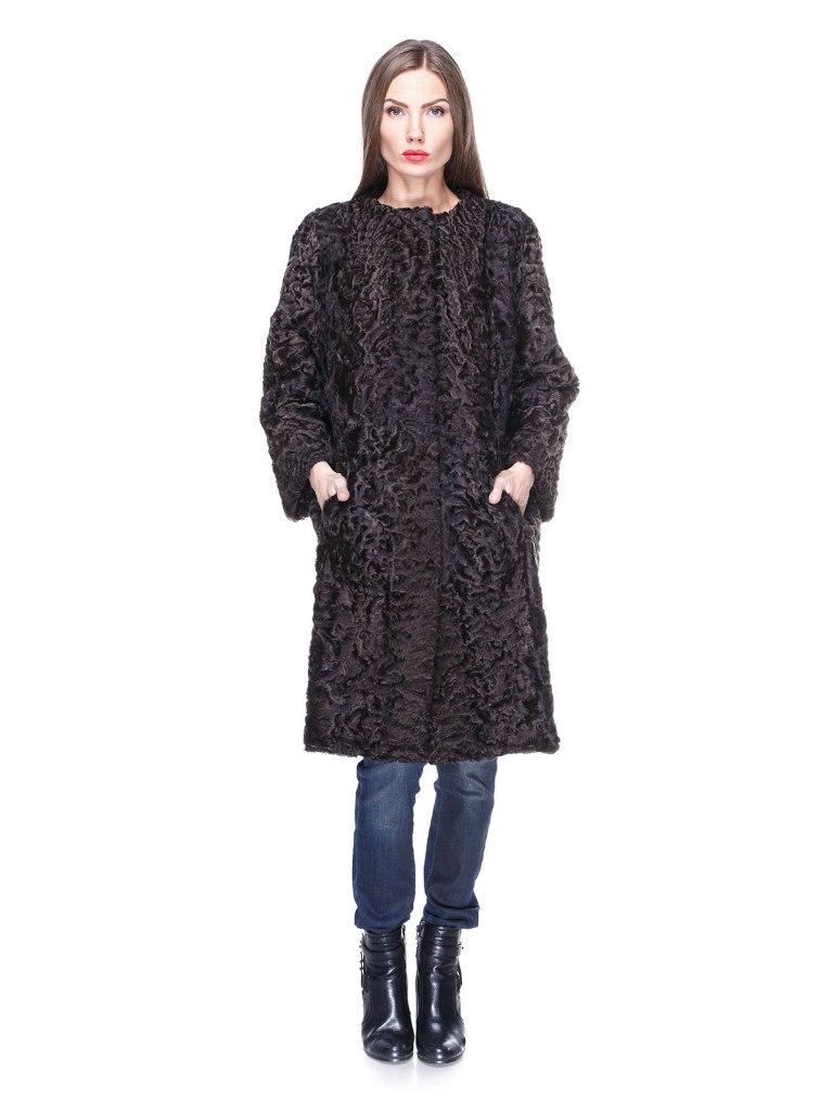 Меховое пальто из каракуля темно-коричневого цвета