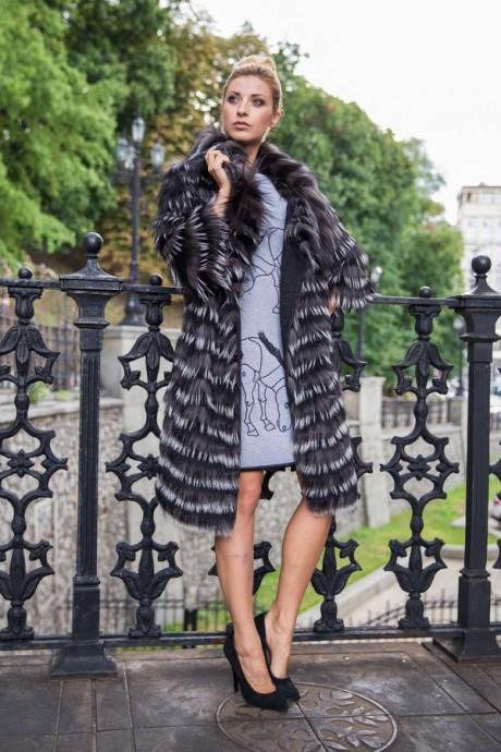 Итальянское двухстороннее пальто из меха чернобурки