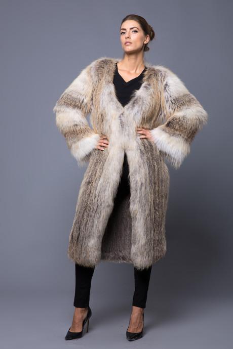 Итальянское пальто из вязаного меха лисы