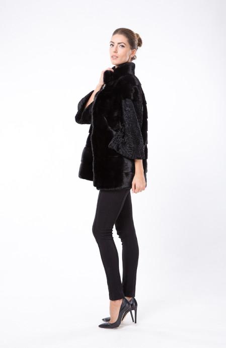 Черное итальянское пальто из меха норки и каракуля
