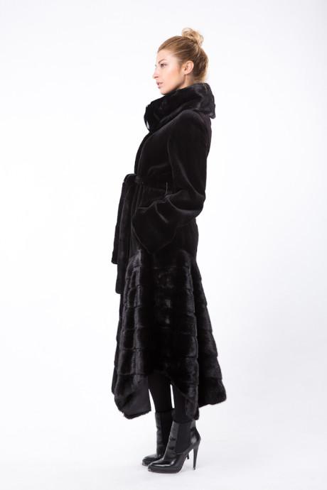Черное норковое итальянское пальто цвета Scan Black