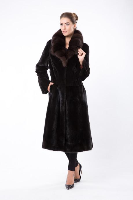 Черное итальянское пальто из меха норки и соболя