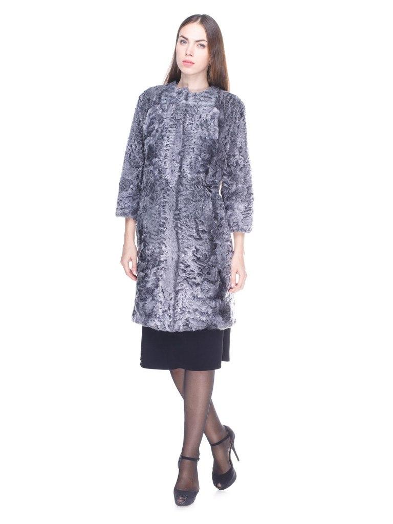 Серое меховое пальто овчина-каракуль