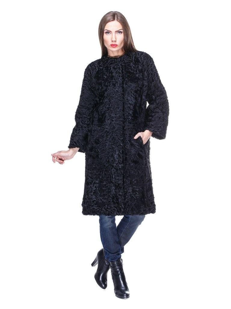 Меховое пальто из каракуля черного цвета