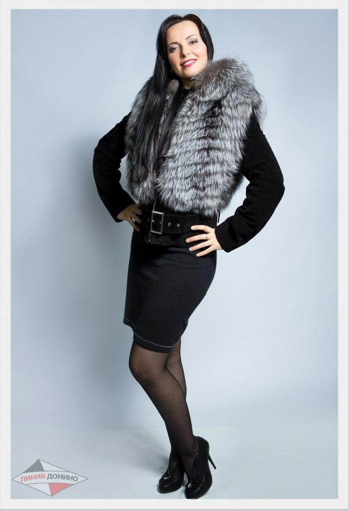 Натуральная замшевая куртка с мехом чернобурки