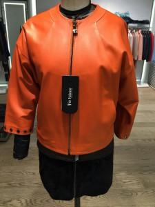 оранжевая кожаная женская куртка