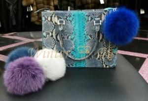 Цветные меховые помпоны, бумбоны и бубоны из песца для сумок и шапок