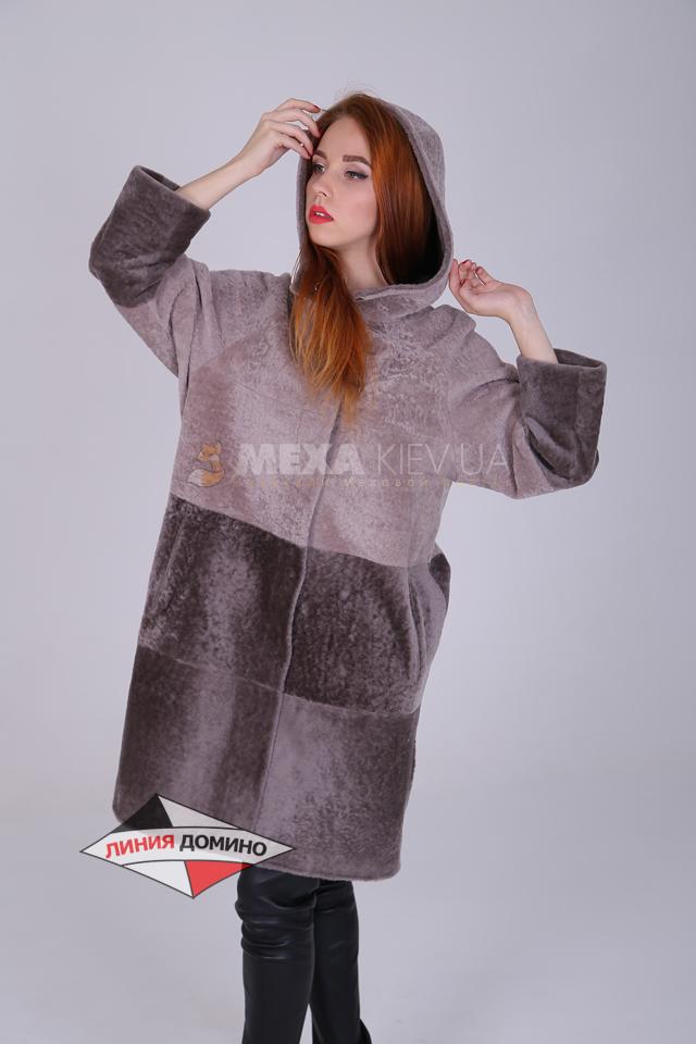 Модное двухстороннее пальто с капюшоном с горизонтальными полосами