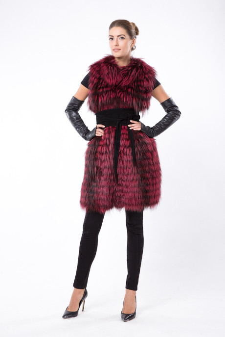 Темно-розовый жилет из меха чернобурки
