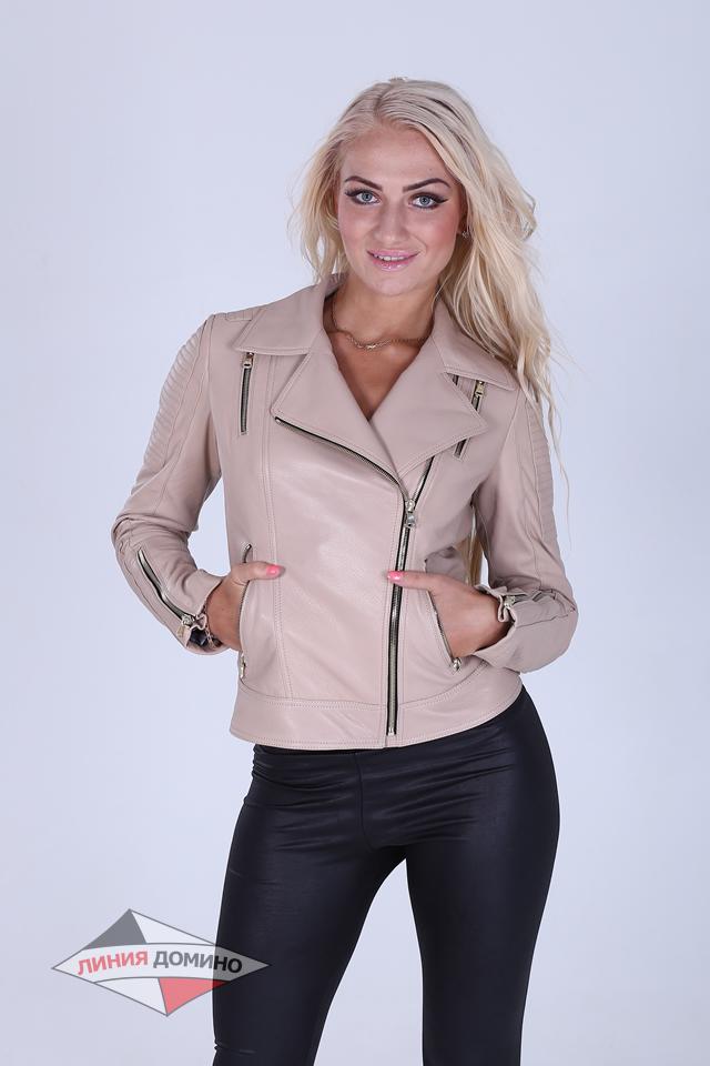 Легкая кожаная женская куртка серого и синего цвета
