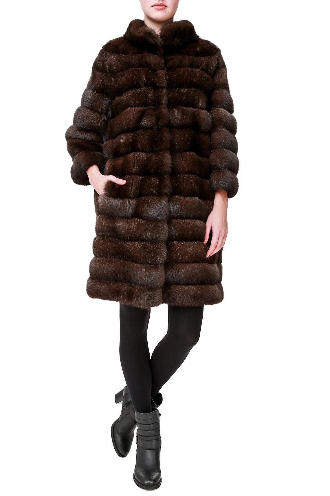 Темно-коричневое пальто из меха соболя Antonio Didone