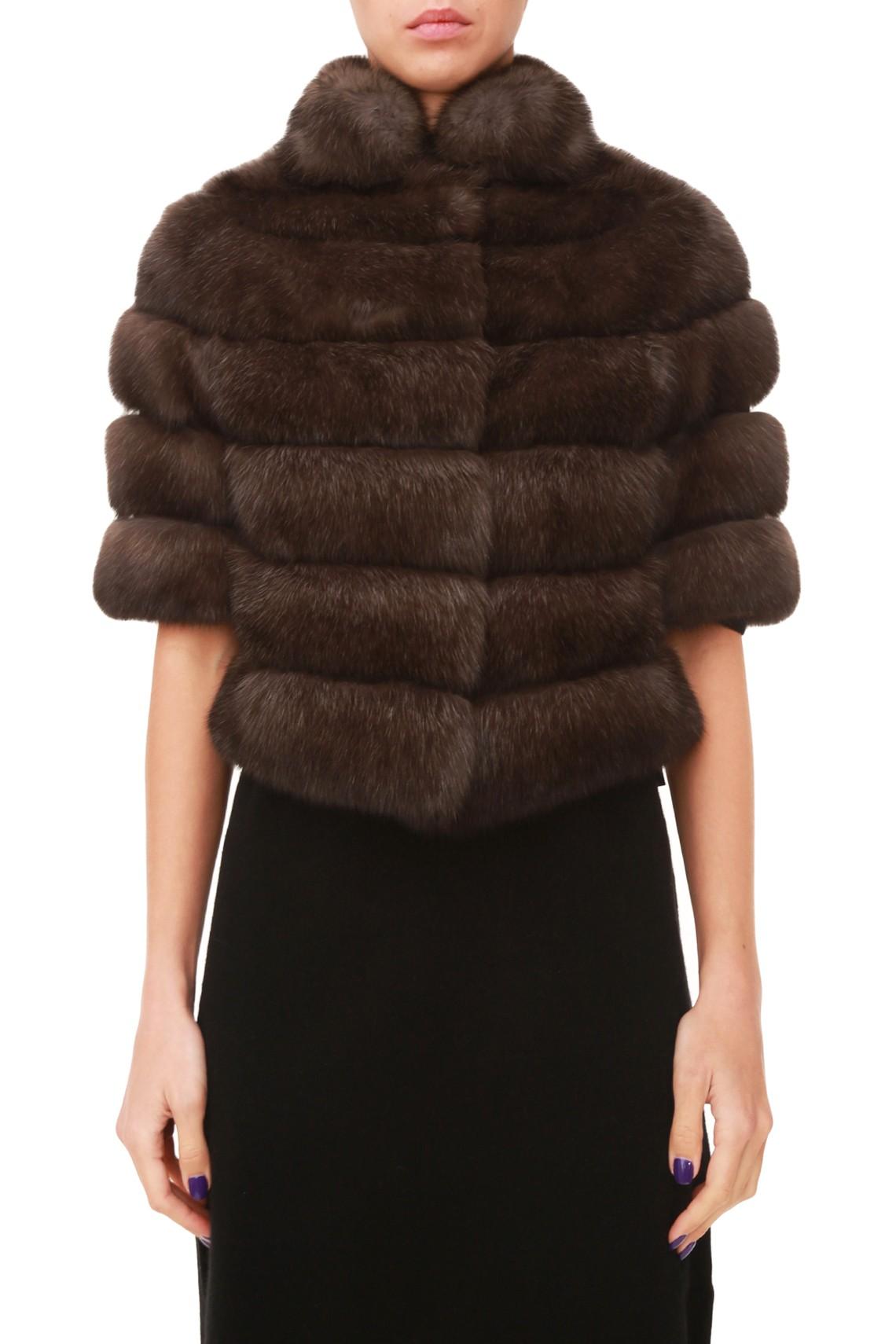Темно-коричневое пальто из меха соболя от Antonio Didone c короткими рукавами