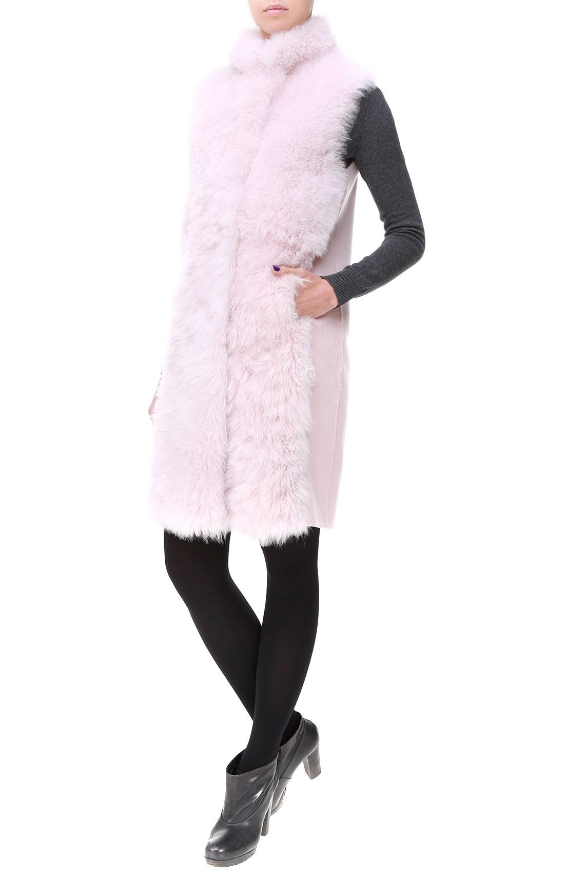 Розовый жилет из кашемира и меха ламы