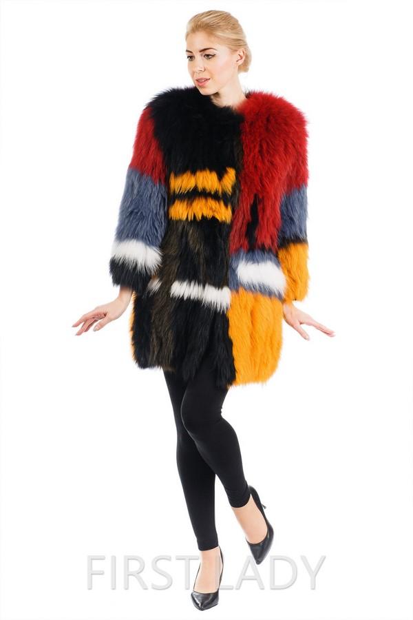 Итальянская разноцветная шуба из вязаной лисы