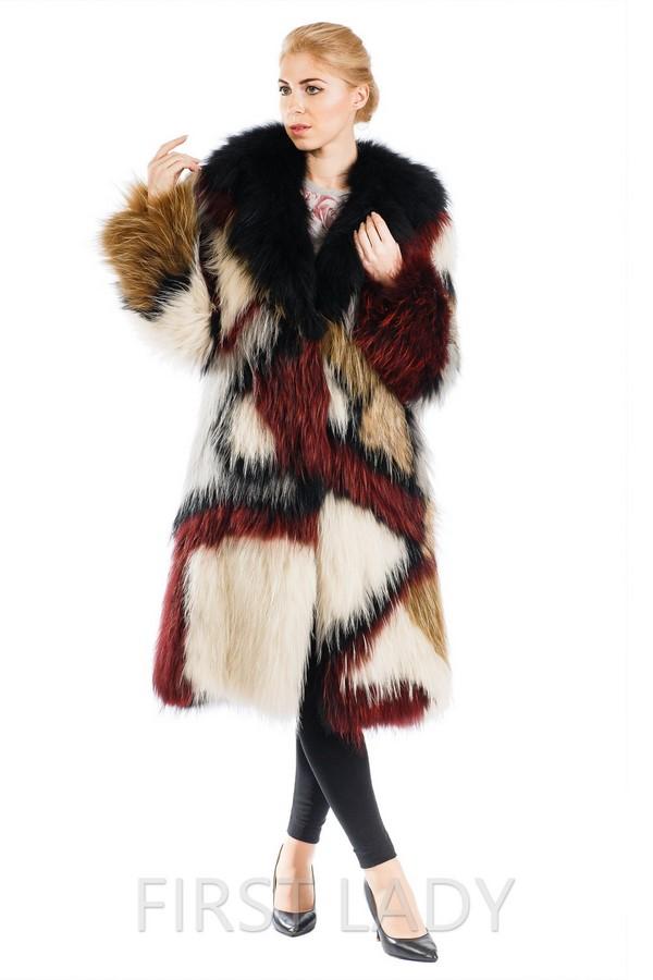 Итальянская шуба из вязаной лисы с английским воротником
