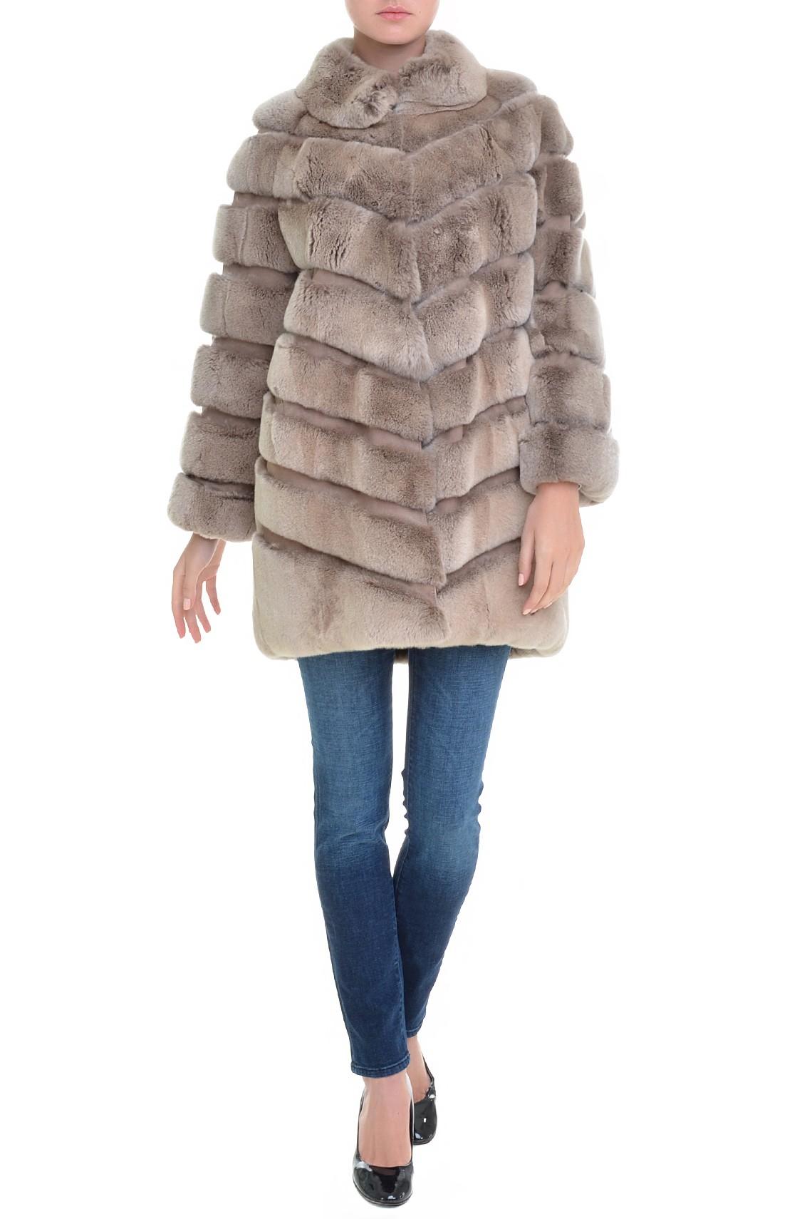 Итальянское коричневое пальто из меха орилага