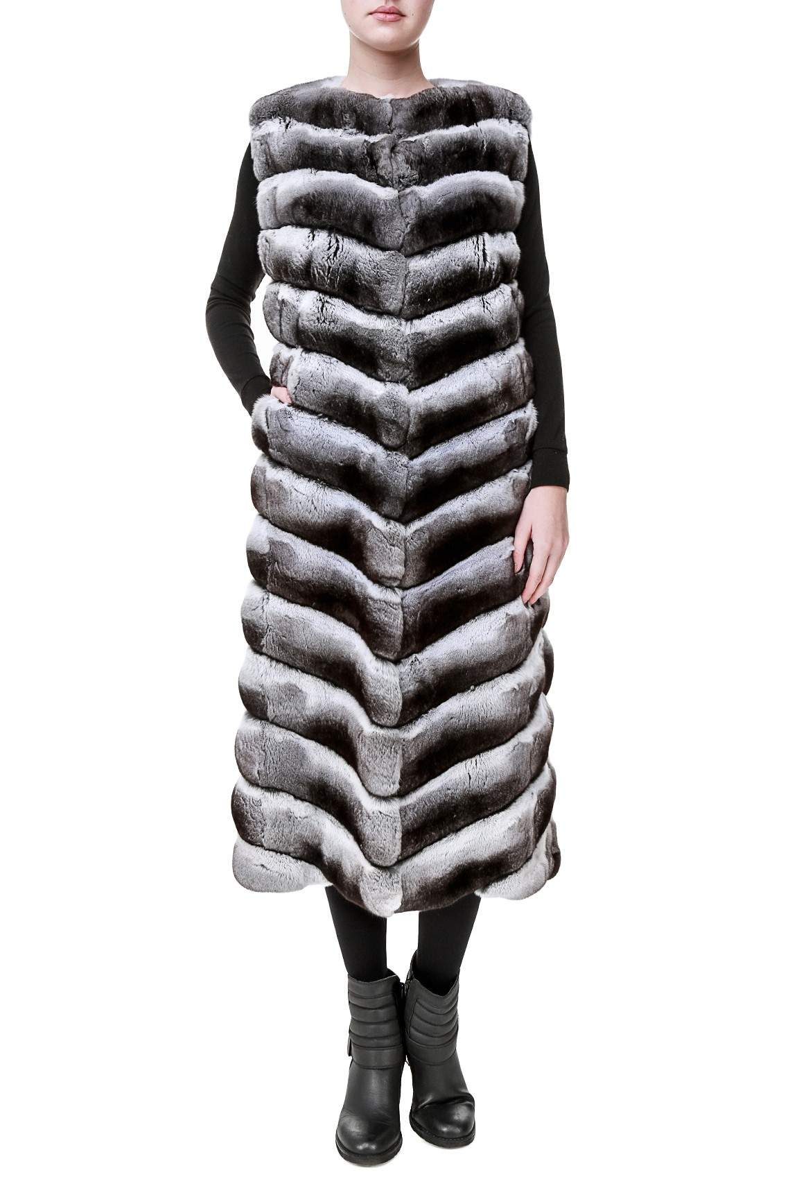 Длинный меховой жилет из шиншиллы Fabrizio Ferrario Furs