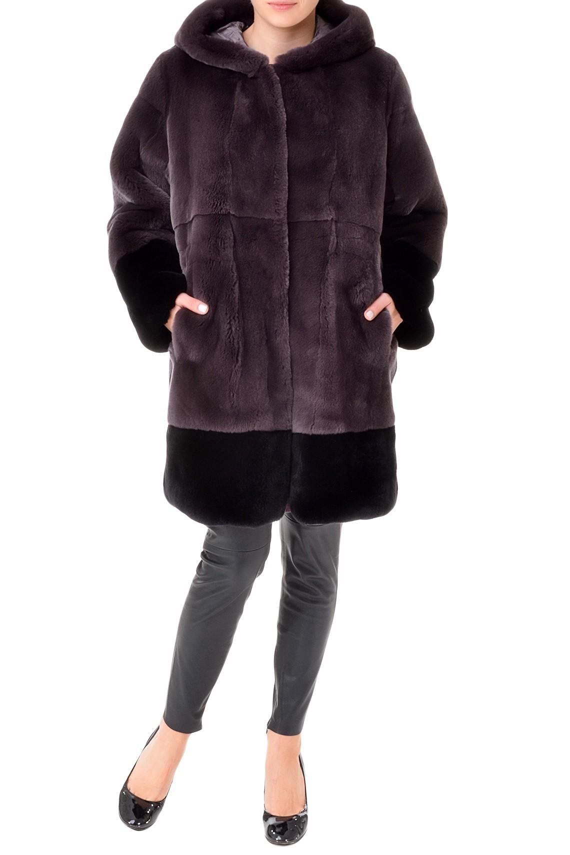 Темно-серое итальянское пальто из меха орилага