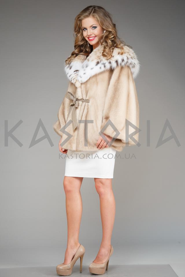 Норковое греческое кимоно с воротником из рыси
