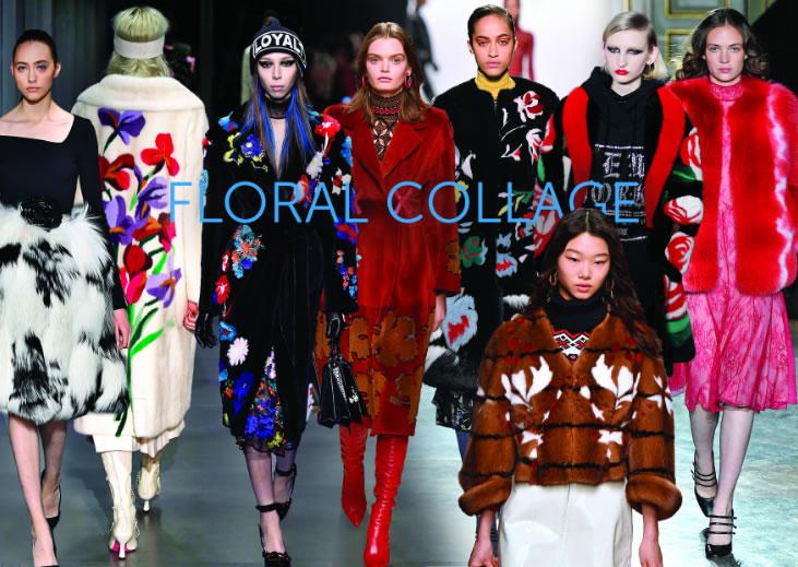 Цветочные коллажи в меховых куртках, пальто, накидках, шубах