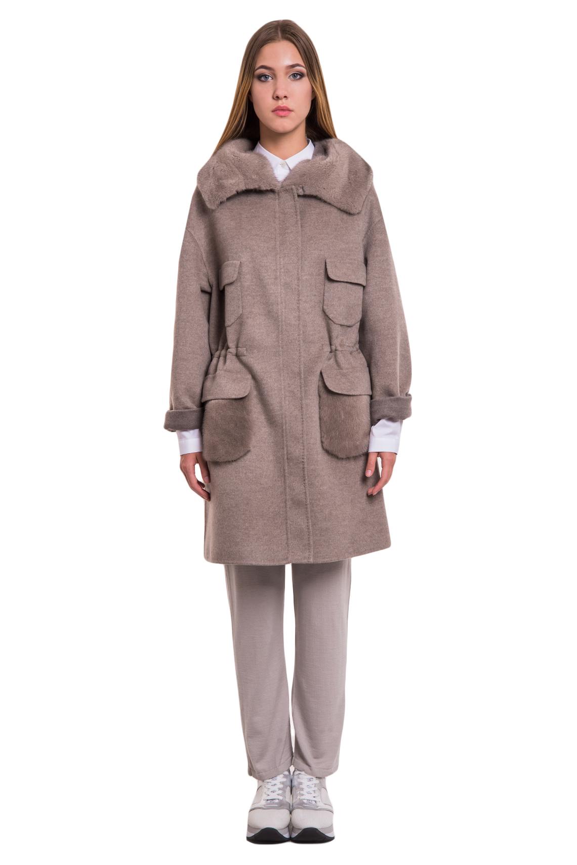 Пальто Manzoni24 кашемир/silver grey норка арт.17M120t. Фото 1