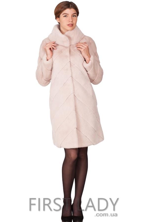 Норковая шуба бледно-розового цвета №979