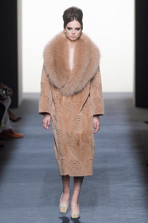 Пальто с меховой отделкой от Fendi