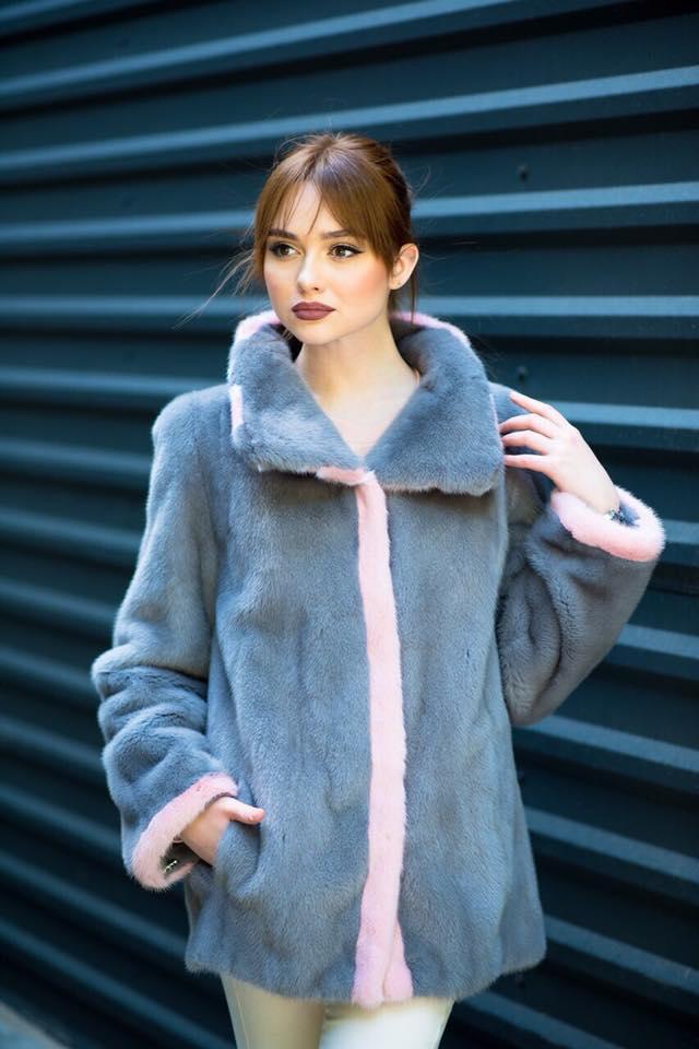 Синяя куртка-пальто из норки