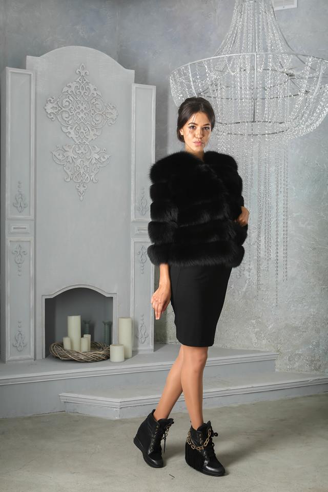 Черная шуба из песца от салона Мисс Лора в Киеве