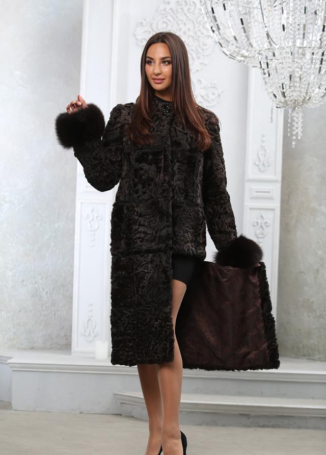 Черная шуба из каракуля в Киеве от Мисс Лора