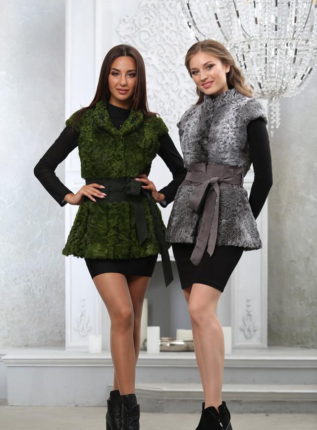 меховые жилеты из астрагана зеленого и серого цвета от Мисс Лора Киев