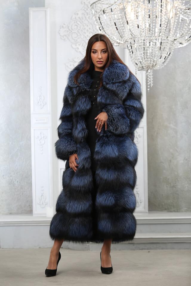Синяя шуба из чернобурки от Мисс Лора в Киеве