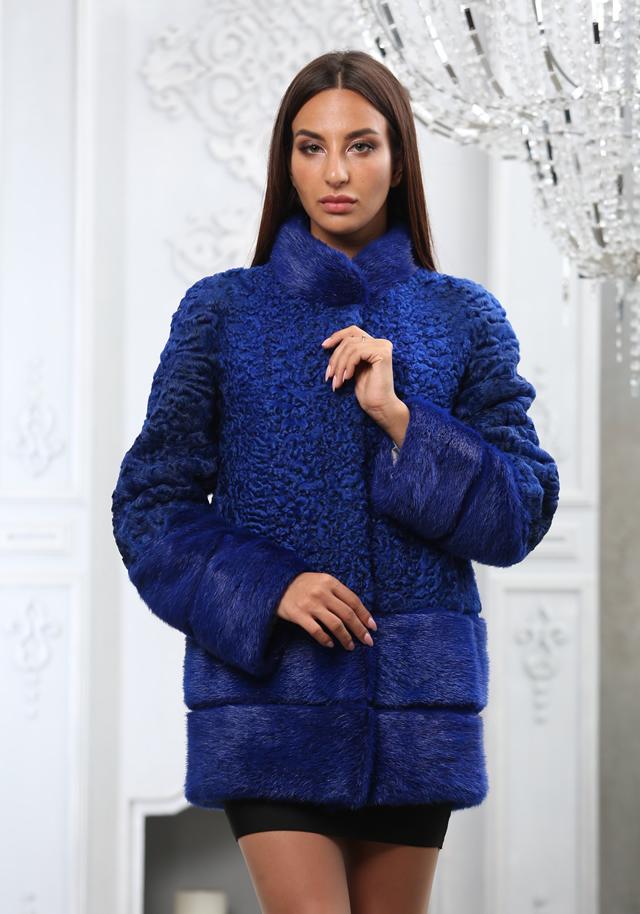 Синяя шуба-пальто из каракульчи в Киеве