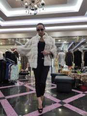 Бежевая норковая шуба-кимоно