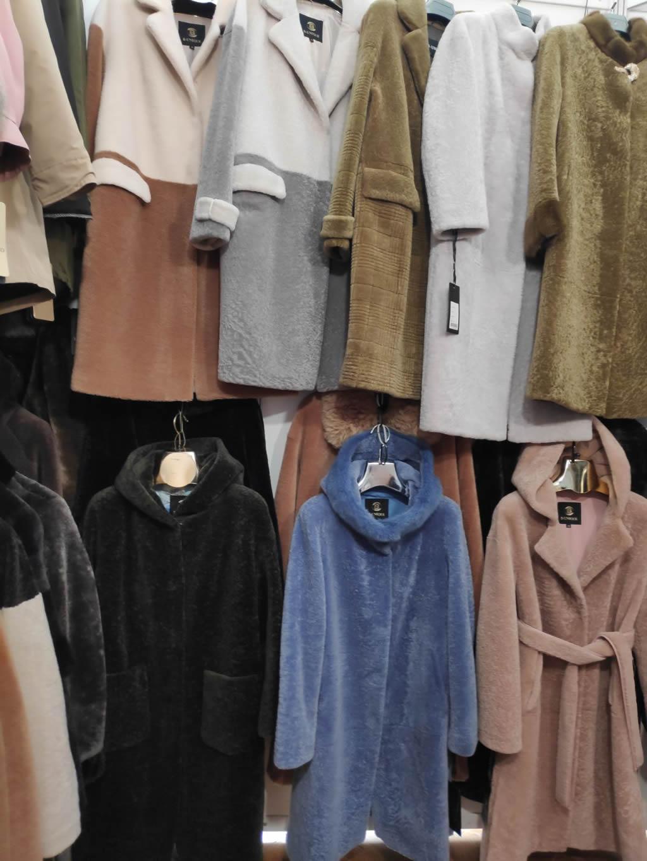 Мутоновое женское пальто серого, коричневого, синего, бежевого и зеленого цвета в Киеве